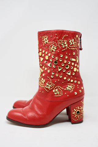 Vintage 90's Studded Leather Boots