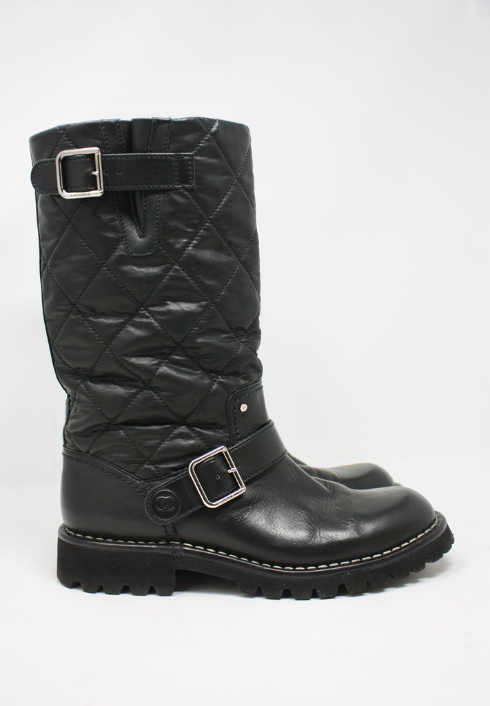 CHANEL Quilted Motorcycle Boots