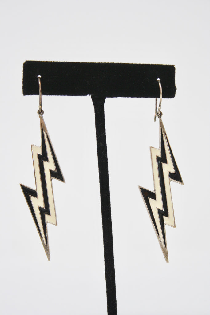 LYNN BAN Sterling Silver & Enamel Lightning Bolt Earrings