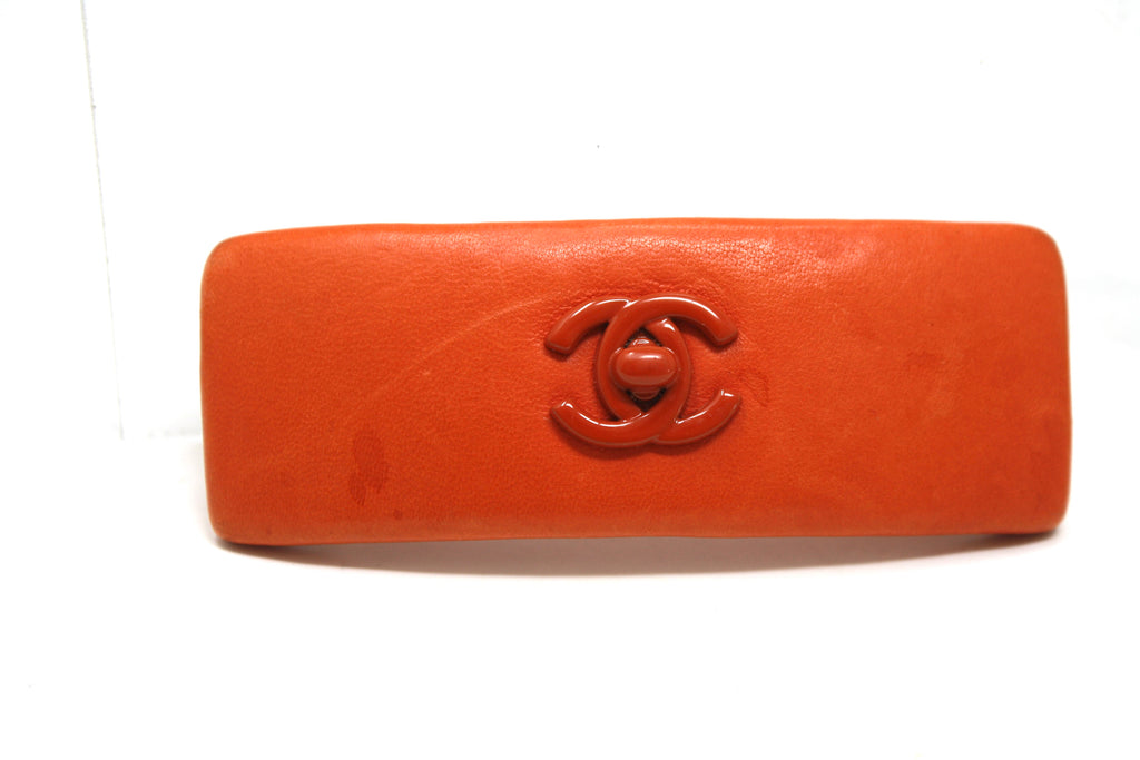 Vintage CHANEL Leather Barrette Hair Clip