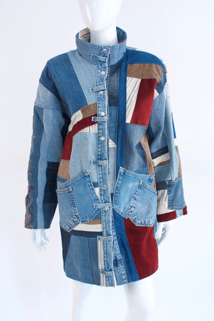 Vintage 80's Patchwork Denim Coat