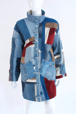 One Of A Kind Vintage 80's Patchwork Denim Coat