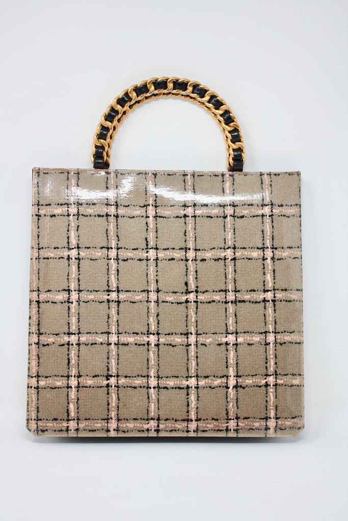 Rare Vintage CHANEL Tweed Tote Bag