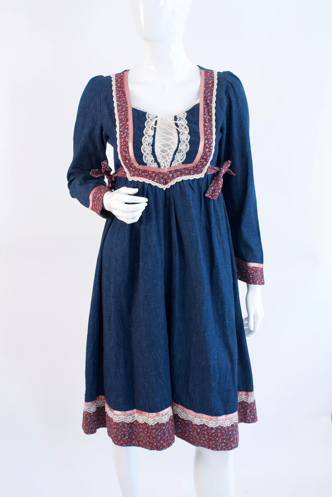 Vintage 70's GUNNE SAX Denim Dress