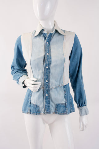 Vintage 60's Patchwork Denim Shirt Jacket