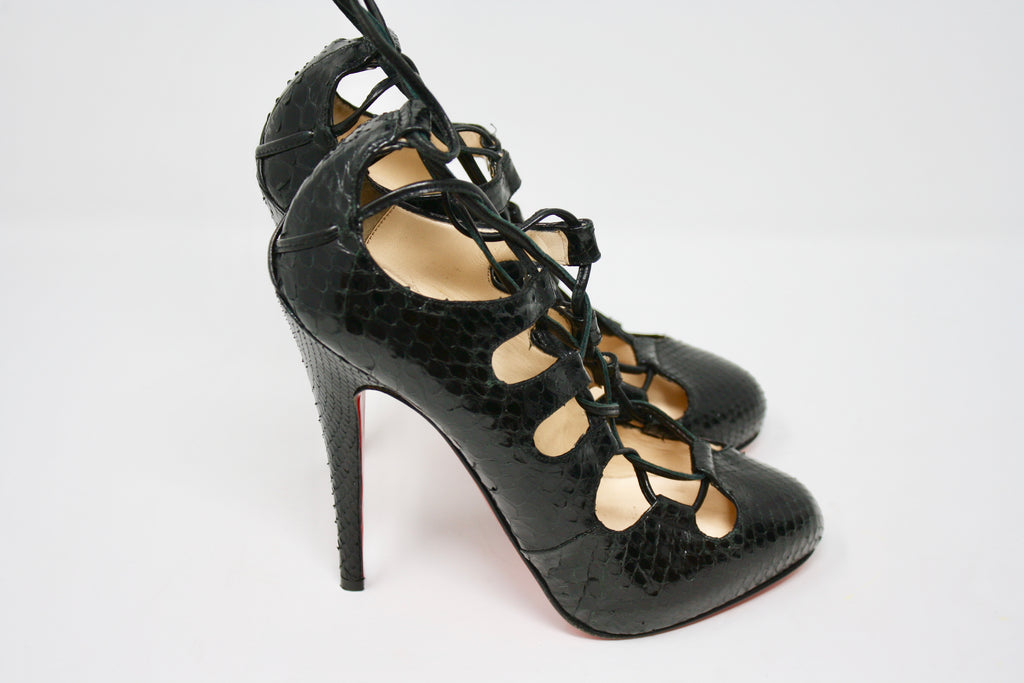 New Christian Louboutin Snakeskin Heels At Rice And Beans Vintage