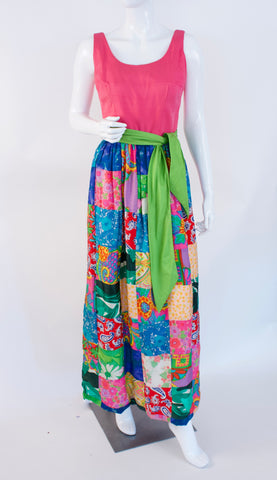Vintage 60's Silk Patchwork Dress