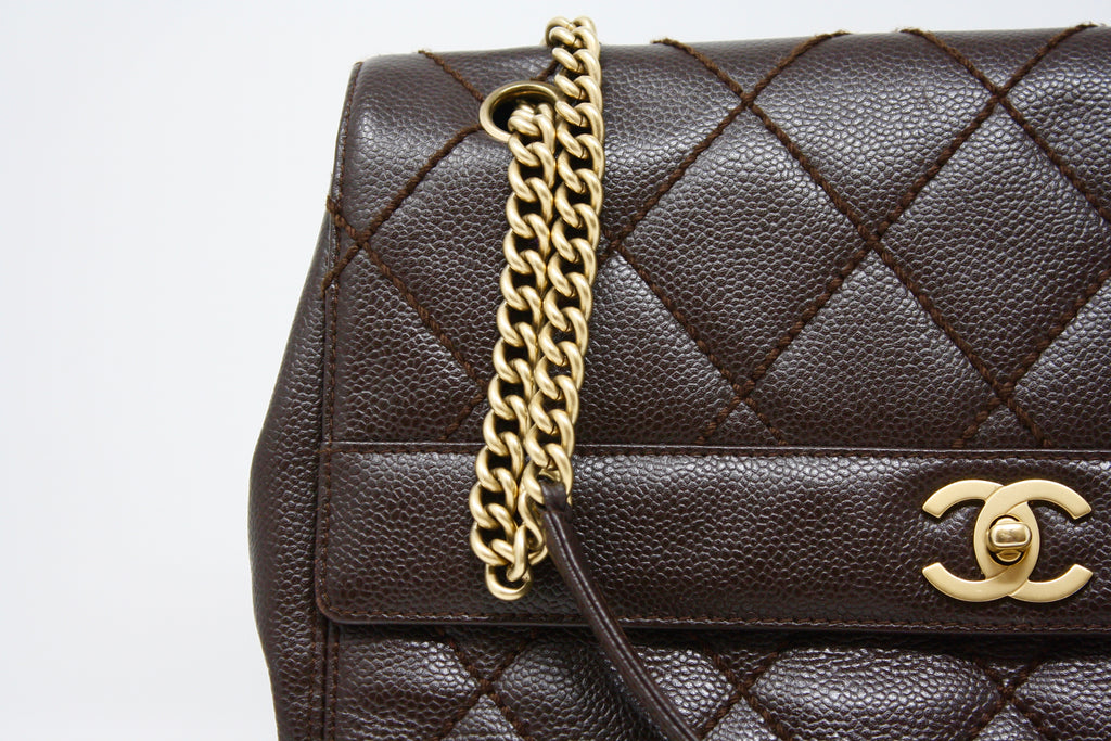 dbcdb3dfa3b1d3 Rare Vintage CHANEL Brown Caviar Flap Bag at Rice and Beans Vintage