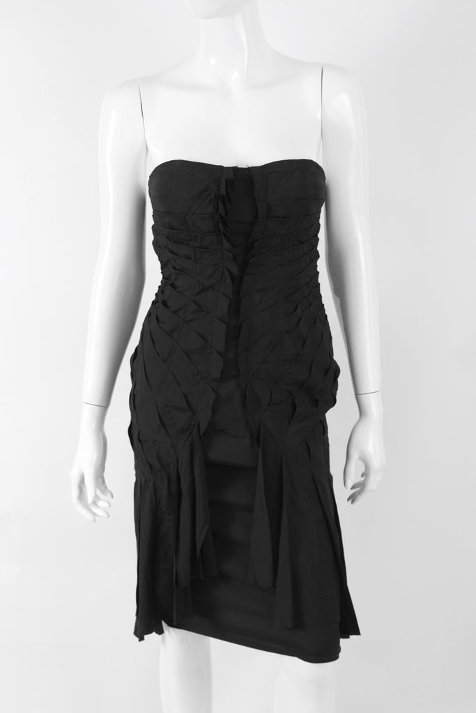 Rare Fall 2003 GUCCI Tom Ford Black Corset Dress