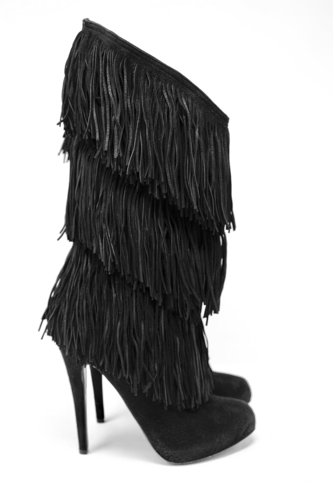 0c40370d4a2 CHRISTIAN LOUBOUTIN Black Fringe Boots at Rice and Beans Vintage