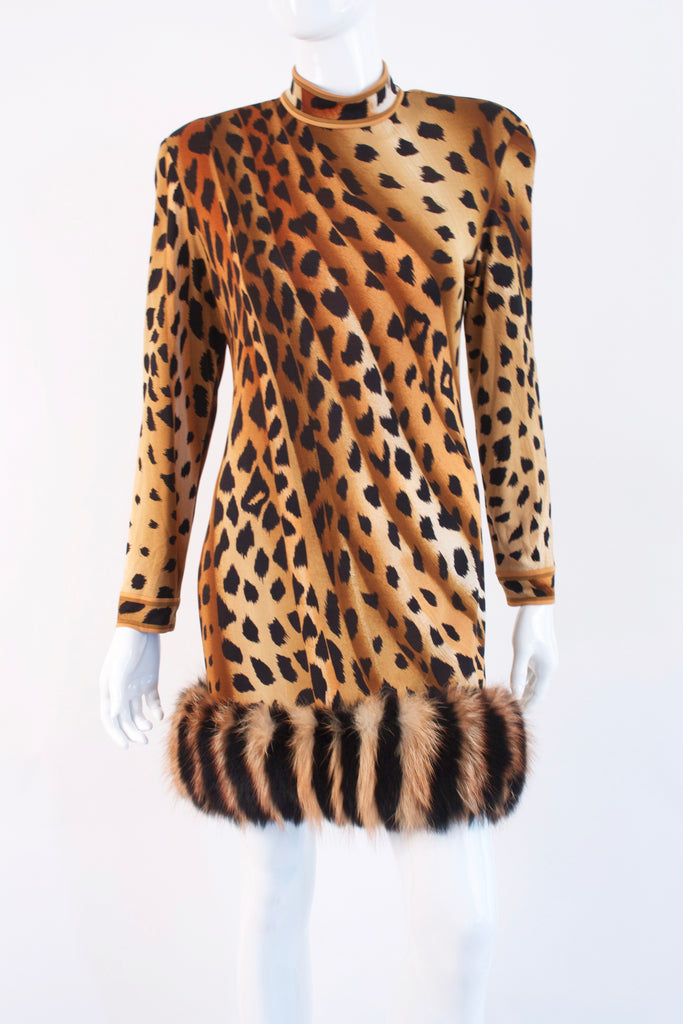 Rare Vintage 80's LEONARD Silk Leopard Dress With Fur
