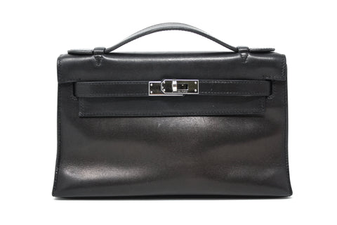 2005 HERMES Black Swift Kelly Pochette Bag