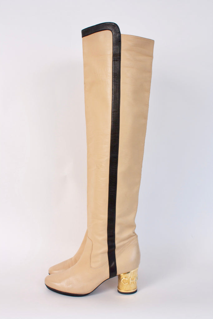 Vintage CHANEL Over The Knee Logo Boots