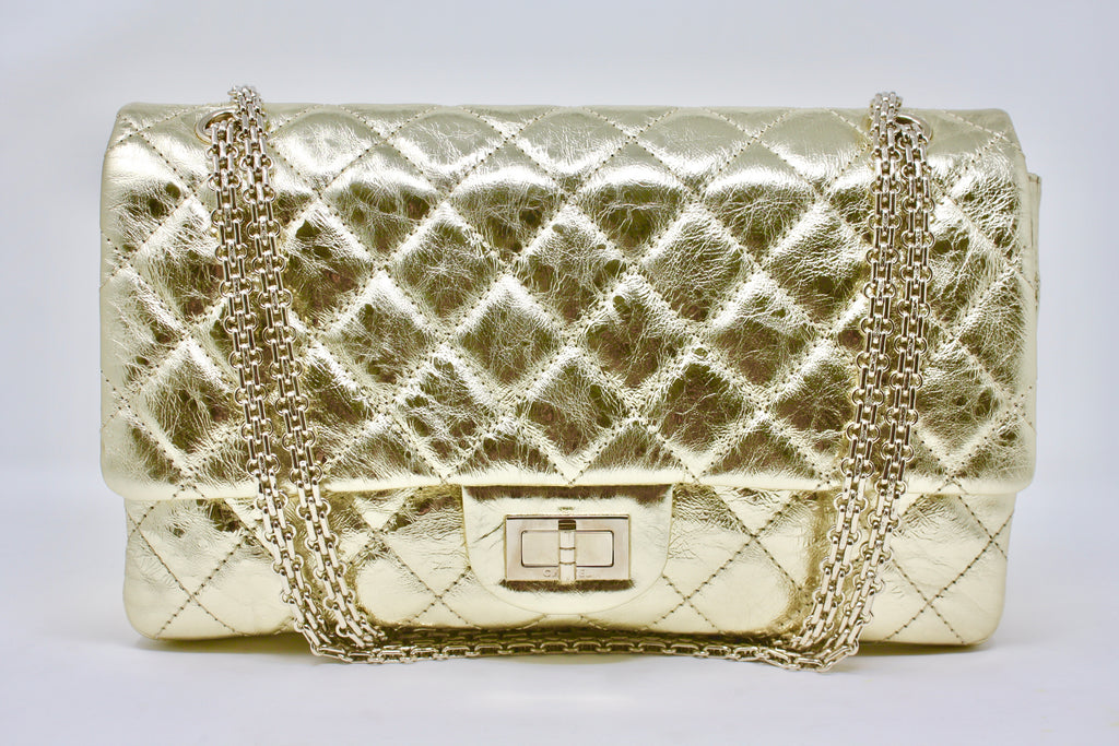 Rare CHANEL Gold Metallic Reissue Double Flap Bag