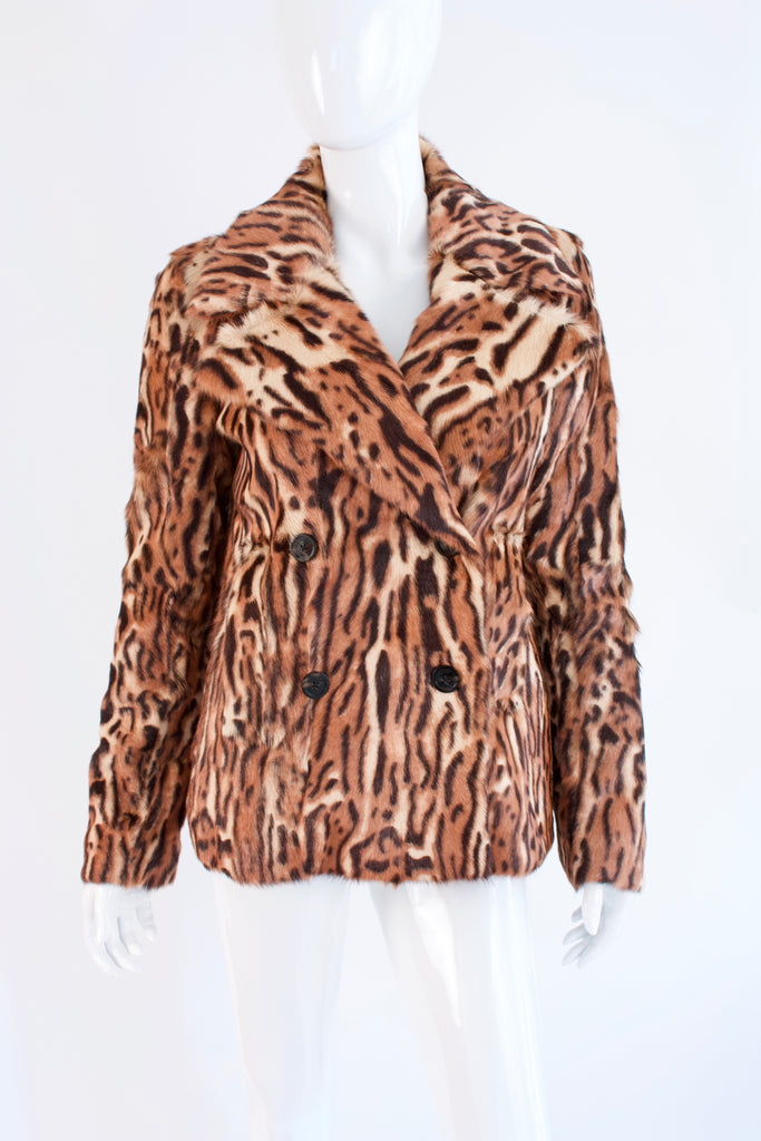 New MICHAEL KORS Leopard Print Fur Coat