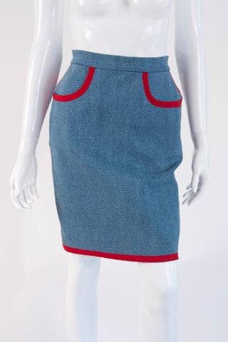Vintage CHANEL Fall 1991 Denim Skirt