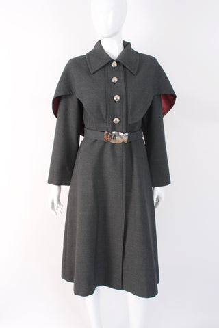 Vintage 60's YOUTHCRAFT Belted Wool Cape Coat