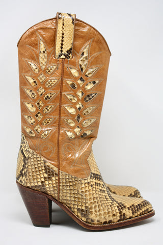 Vintage 70's Python Inlay Cowgirl Boots