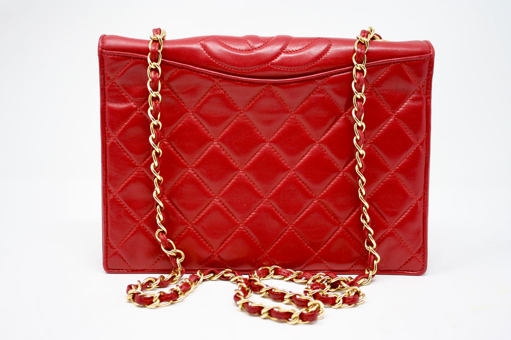 Vintage CHANEL Red Quilted Flap Bag