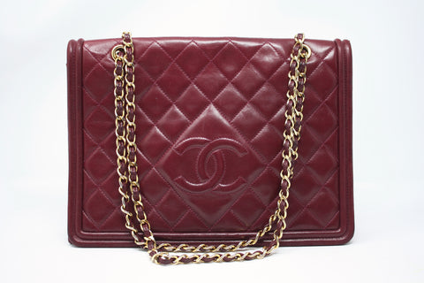 Rare Vintage CHANEL Burgundy Logo Flap Bag