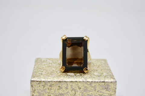 Vintage 70's VENDOME Smokey Topaz Cocktail Ring