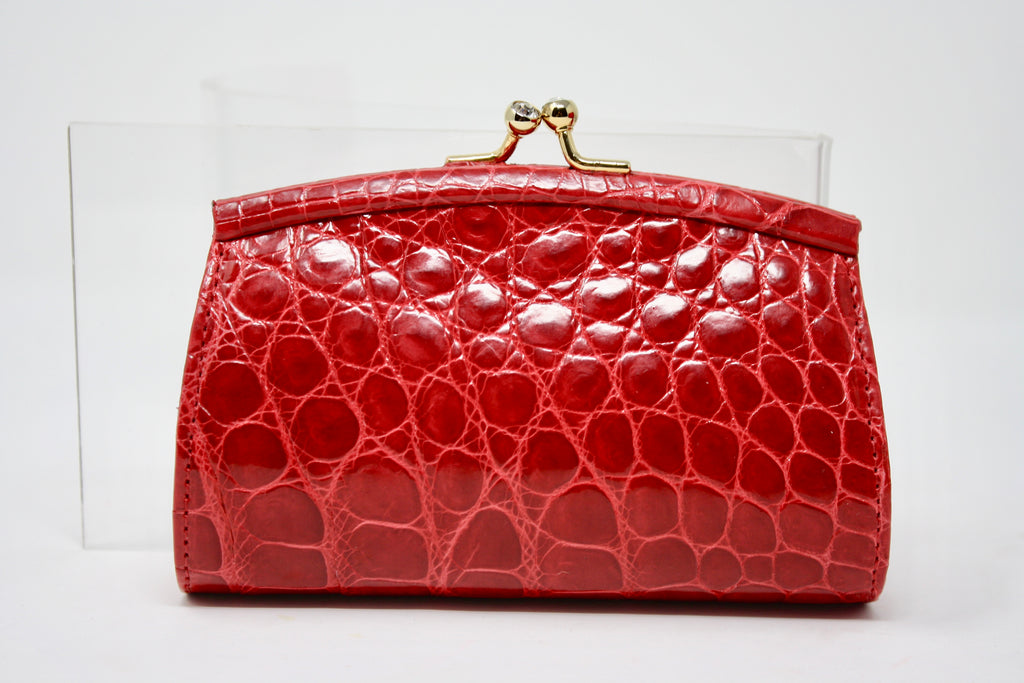New JUDITH LEIBER Red Crocodile Mini Clutch Bag