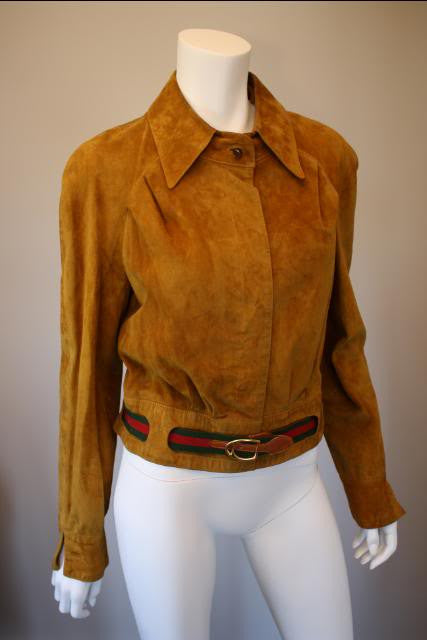 RARE Vintage 70's GUCCI Brown Deer Skin Suede Leather Jacket with Red/Green GUCCI Belt & Enamel Horse Shoe Button