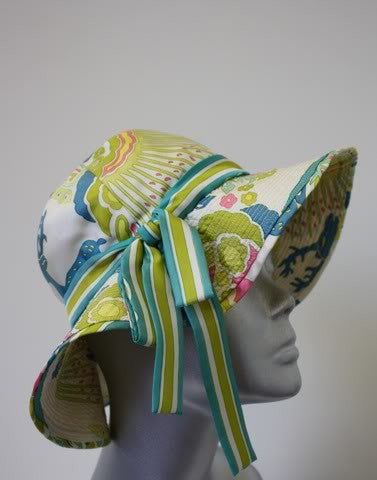 Vintage HERMES Silk Sun Hat with Ribbon Trim