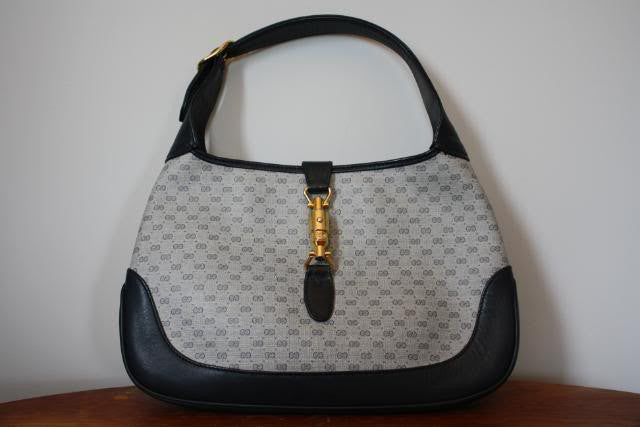 Vintage 80's GUCCI Navy Blue Canvas & Leather GG Monogram Jackie O Bag with Extra Strap Extender