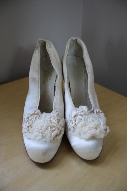 Antique 1912 White Satin Wedding Shoes