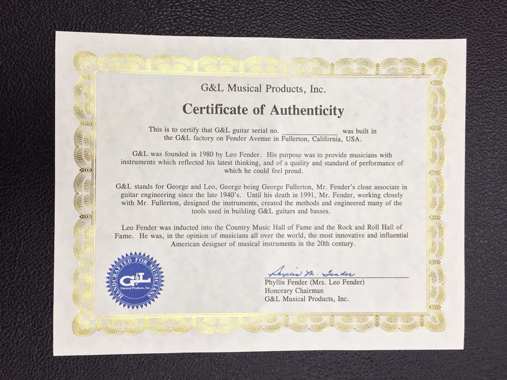 Replacement Certificate of Authenticity
