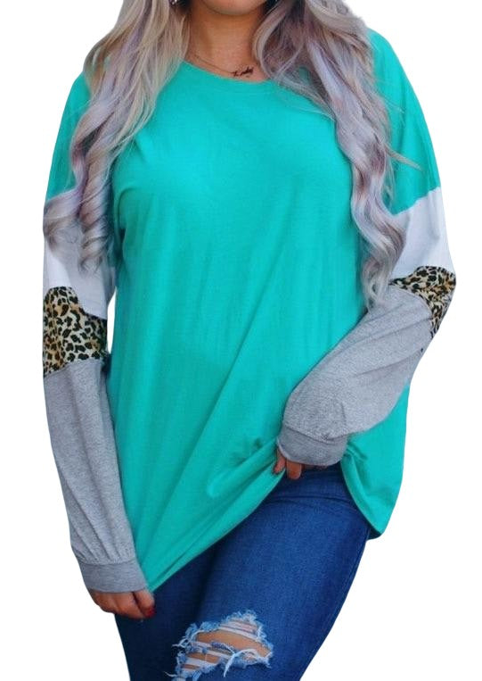 Leopard Print Colorblock Sleeve Tunic