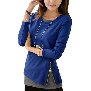 Double Layer Zipper Blouse