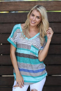 Blue Striped Relaxed Fit Tee