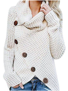 Long-sleeved sweater five-button high-necked pullover solid color
