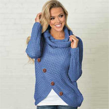 Load image into Gallery viewer, Long-sleeved sweater five-button high-necked pullover solid color