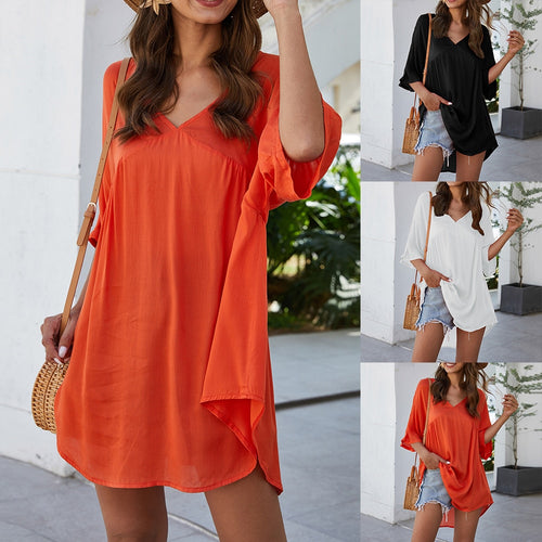 Tunic V Neck Beach Dress Women