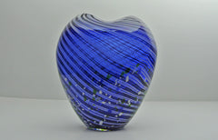 Cobalt blue patterned Italian Murano style glass vase