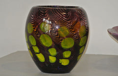 Purple glass vase - circa 60s, deep purple with lime green - SOLD