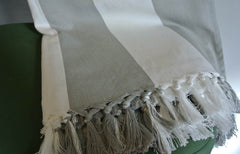 Linum grey & white stripe cotton throw