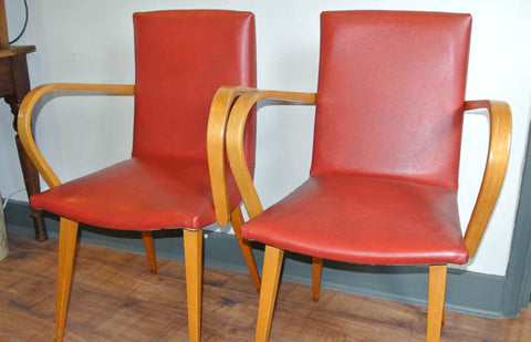 SOLD - Mid-century French red occasional chairs