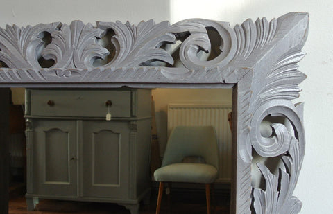 SOLD - Large French 19th century mirror, grey carved floral frame