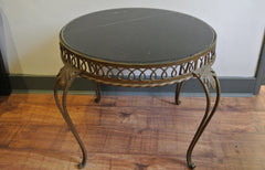 SOLD - 50s round metal coffee table