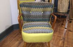 50s cocktail chair in harlequin chevron fabric
