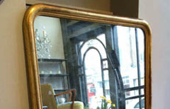 Large French gilt floor standing mirror