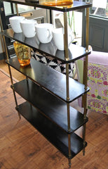 SOLD - French mid-century brass frame shelves