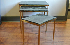 French mid-century brass & marble tables - SOLD