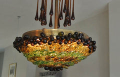 1920s grape and coloured glass flowers chandelier