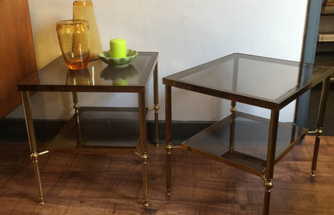 SOLD - Brass side tables with smoked glass