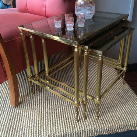 SOLD - Brass nest of tables with smoked glass table tops
